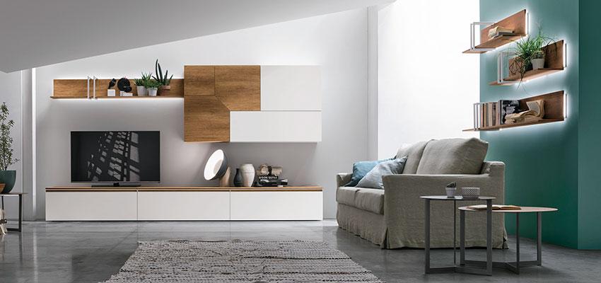 illuminazione integrata nei mobili della zona living